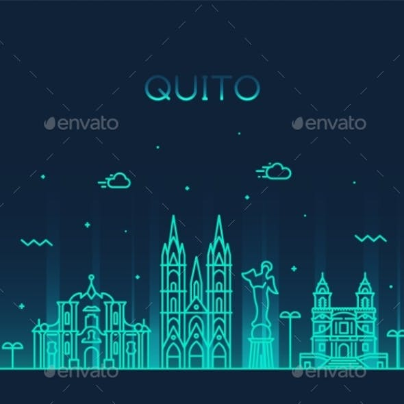 Quito Skyline Ecuador Vector City Linear Style