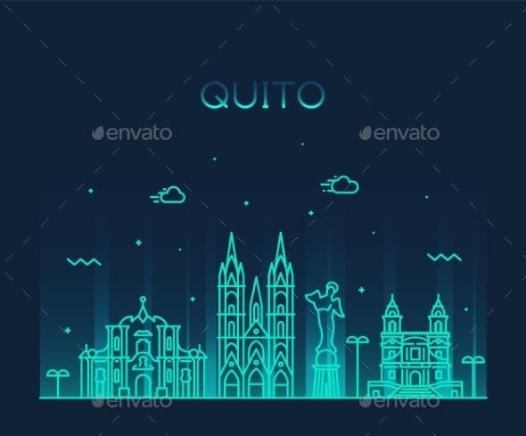 Quito Skyline Ecuador Vector City Linear Style - Buildings Objects