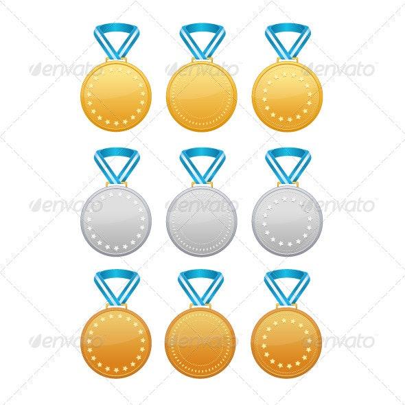 Set of Gold, Silver and Bronze Medals - Decorative Symbols Decorative