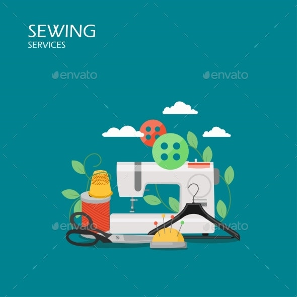 Sewing Services Vector Flat Style Design - Industries Business
