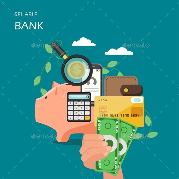 Reliable Bank Vector Flat Style Design - Industries Business