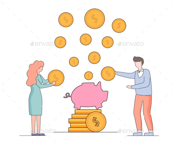 Man and Woman Put Gold Dollars into Piggy Bank - People Characters