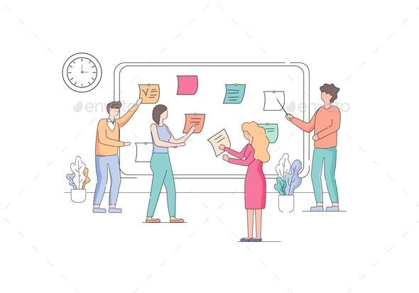 Team of Developers Planning Weekly Schedule Tasks - People Characters