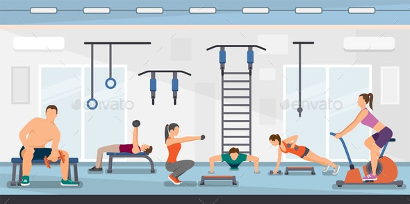 Flat Vector Illustration Training Fitness Club - Sports/Activity Conceptual
