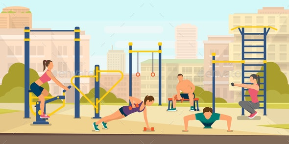 Flat Vector Illustration Sports Field Outside - Sports/Activity Conceptual