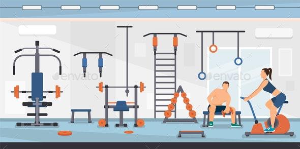 Flat Vector Illustration Training on Simulators - Sports/Activity Conceptual