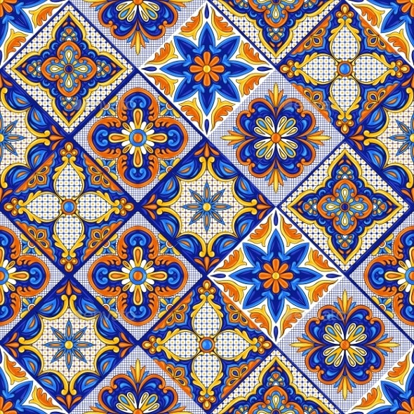 Mexican Talavera Ceramic Tile Pattern - Patterns Decorative