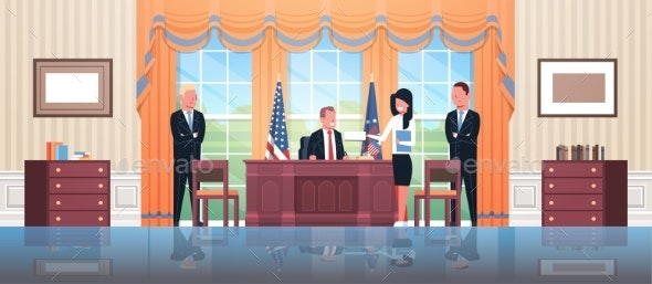 United States President Sitting Workplace Signing - Buildings Objects