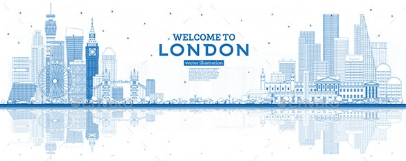 Outline Welcome to London England Skyline with Blue Buildings and Reflections - Buildings Objects