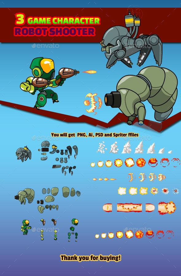 Robot Shooter and Enemy Character - Sprites Game Assets