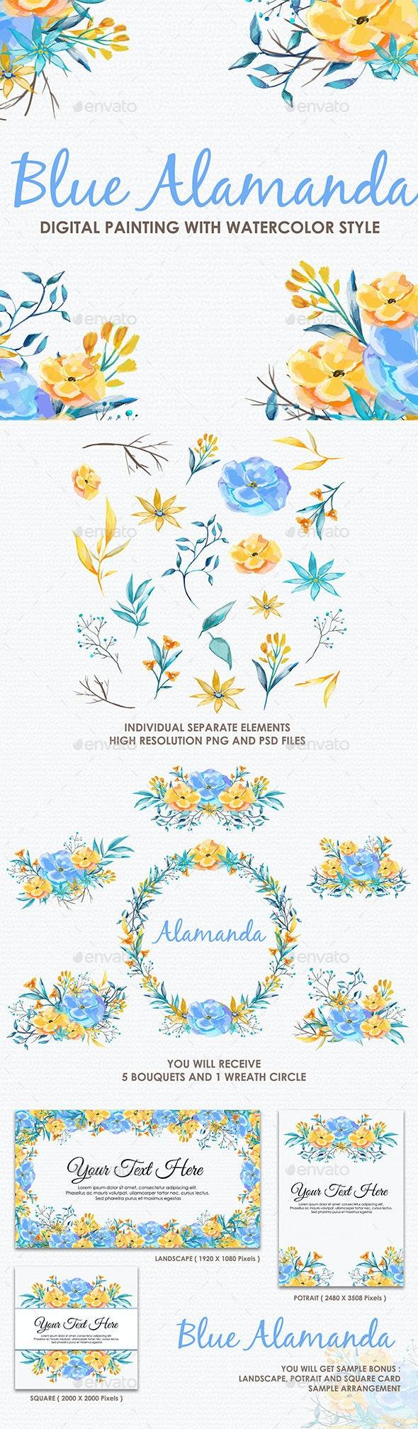 Blue Alamanda - Watercolor Digital Painting Floral Flowers Style - Flourishes / Swirls Decorative