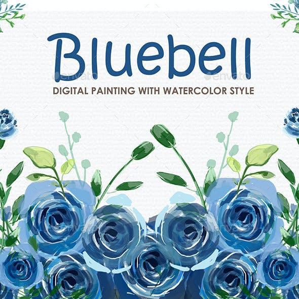 Bluebell - Watercolor Digital Painting Floral Flowers Style