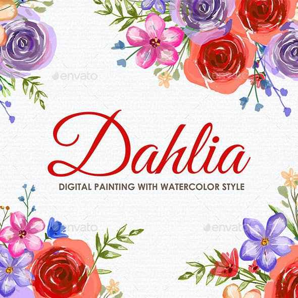 Dahlia - Watercolor Digital Painting Floral Flowers Style