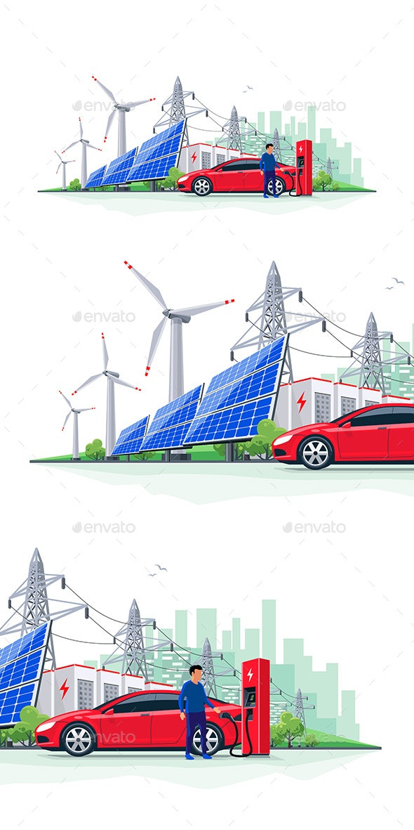 Electric Car Charging from Renewable Energy Battery - Technology Conceptual
