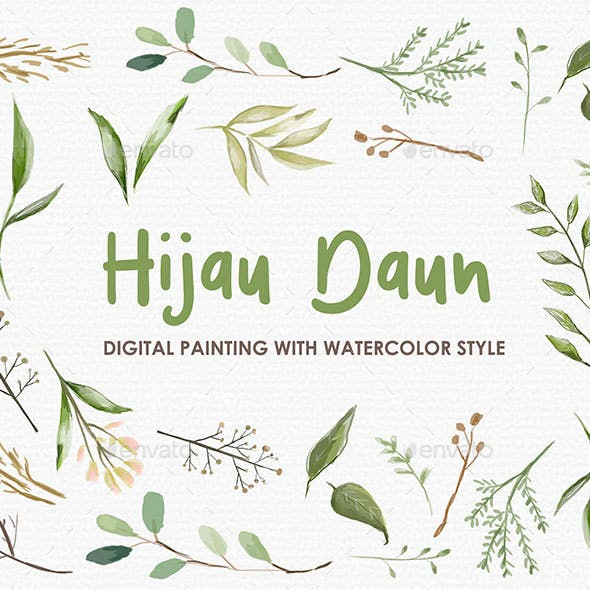 Hijau Daun - Watercolor Digital Painting Floral Flowers Style
