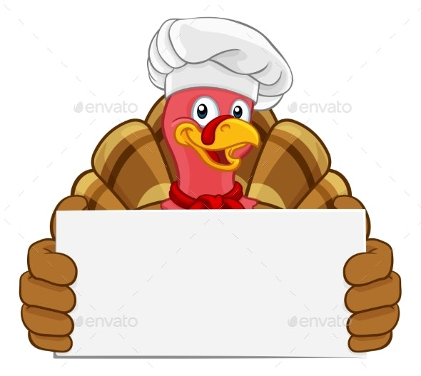 Turkey Chef Thanksgiving or Christmas Cartoon - Animals Characters