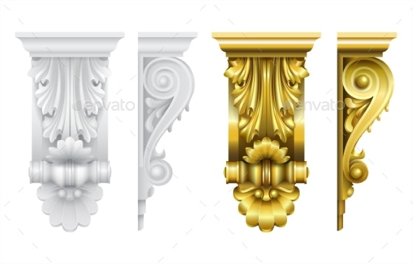Classic Frontal Bracket Gold and Stone Set - Man-made Objects Objects