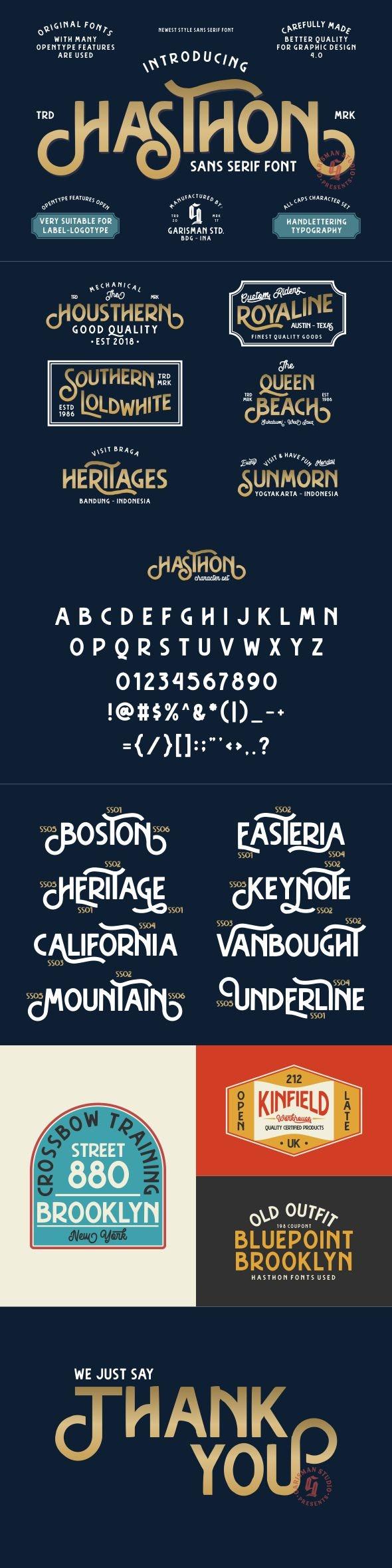 Hasthon - Vintage Fonts - Sans-Serif Fonts