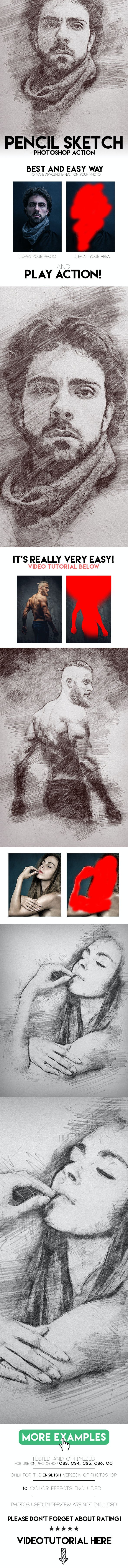 Pencil Sketch Photoshop Action - Photo Effects Actions
