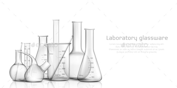 Laboratory Glassware Realistic Vector Banner - Man-made Objects Objects