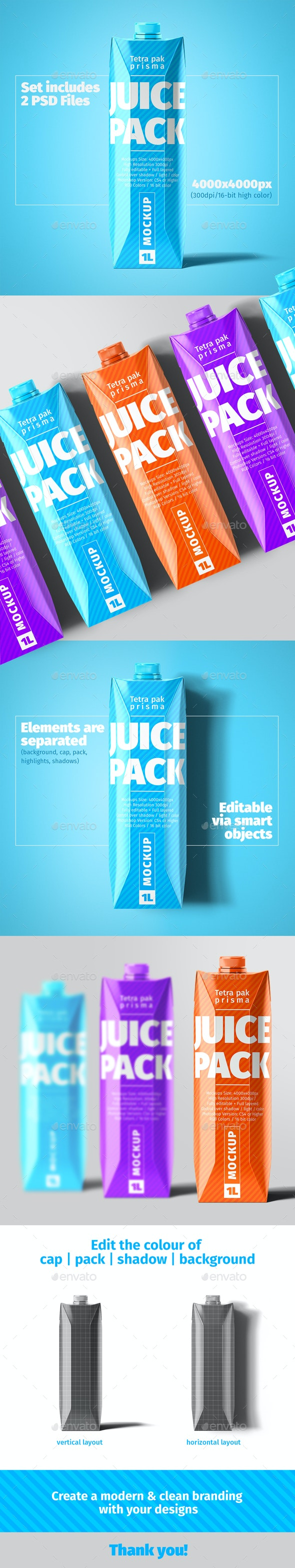 Tetra Pak. Prisma Pack (1L) Mockup - Food and Drink Packaging