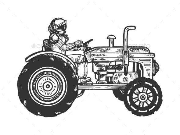 Astronaut Ride Tractor Sketch Engraving Vector - Miscellaneous Vectors