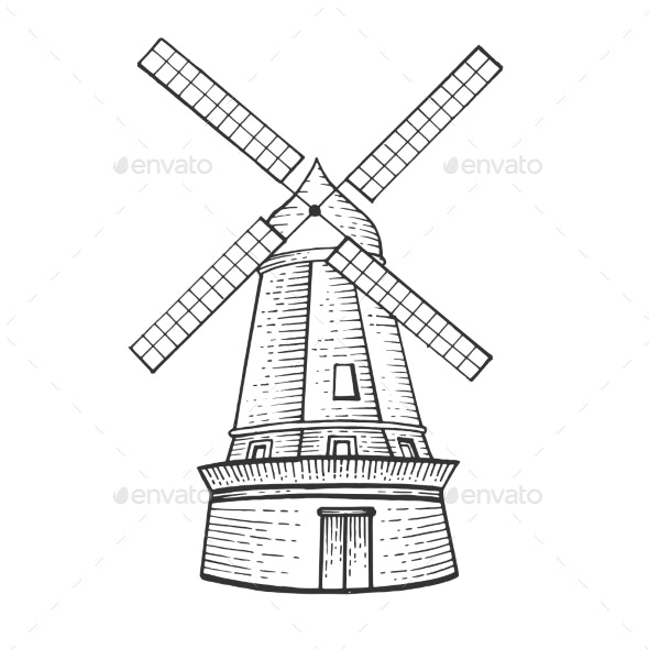 Old Windmill Sketch Engraving Vector Illustration - Miscellaneous Vectors