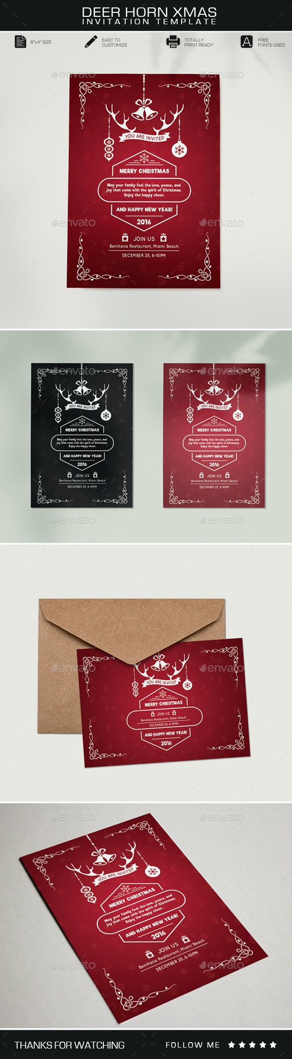 Deer Horn Christmas Invitation - Invitations Cards & Invites