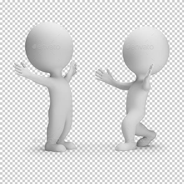 3D Small People - Meeting Two Friends - Characters 3D Renders
