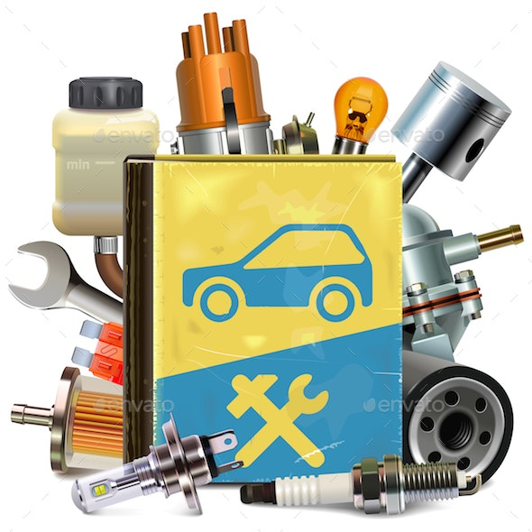 Vector Old Car Repair Book with Car Parts - Industries Business