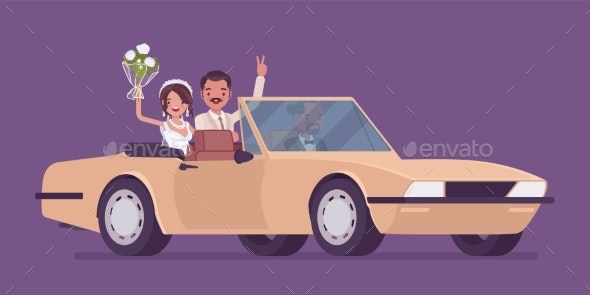 Bride and Groom in Luxury Car on Wedding Ceremony - People Characters