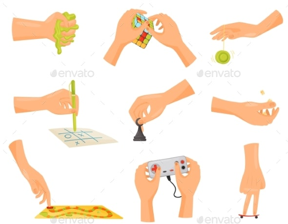 Game Hand Collection. Fun and Playing Conept. - Miscellaneous Vectors