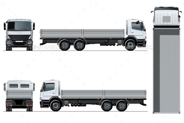 Vector Flatbed Truck Template Isolated on White - Man-made Objects Objects