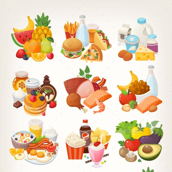 Food Vector Icons Shopping Categories