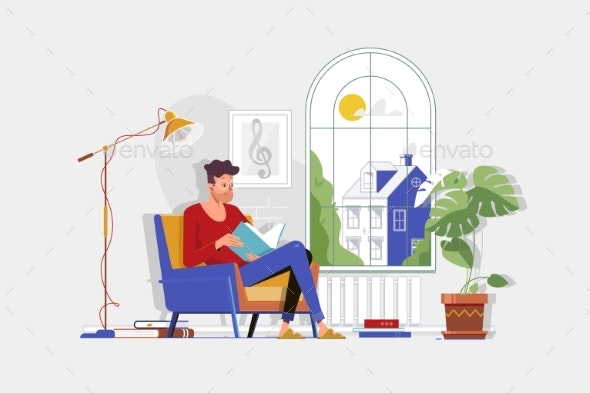 Man with Glasses and Home Clothes Reading Book - People Characters