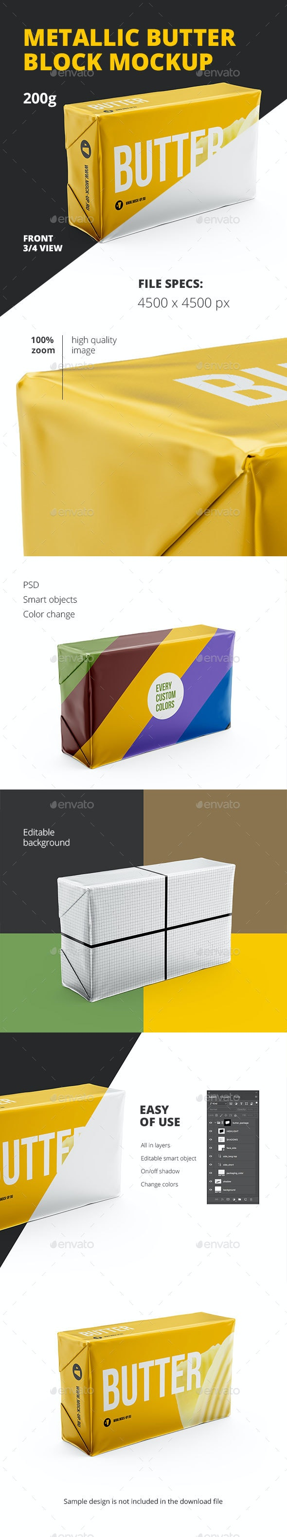 Butter 200g. Front 3/4 view. Mockup - Food and Drink Packaging