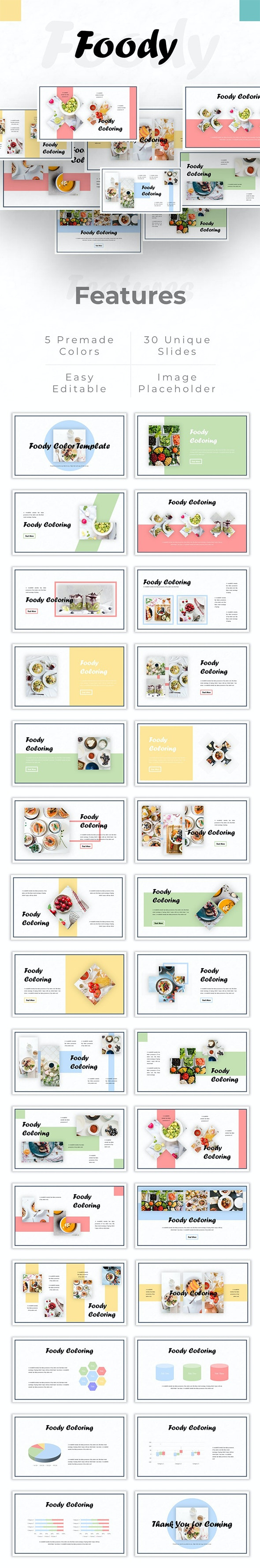 Foody Color - Food Presentation PowerPoint Template - Creative PowerPoint Templates
