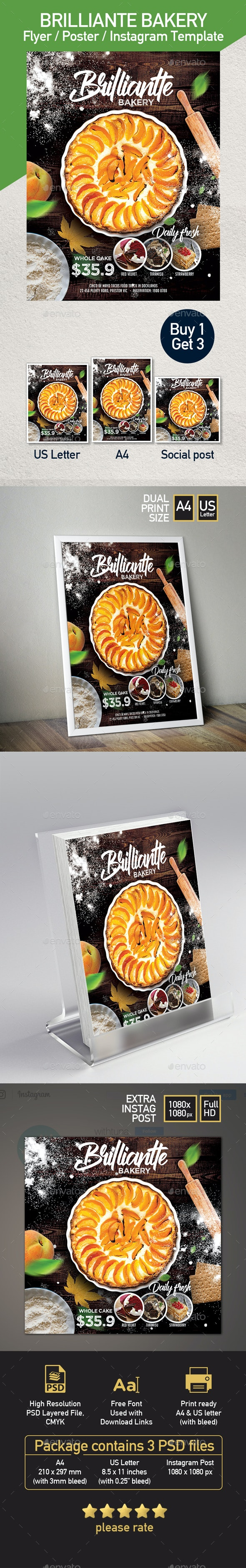 Bakery Pastry Flyer Template - Set of 3 Templates - Flyers Print Templates
