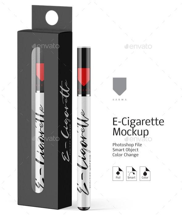 E-Cigarette & Box Mockup - Product Mock-Ups Graphics