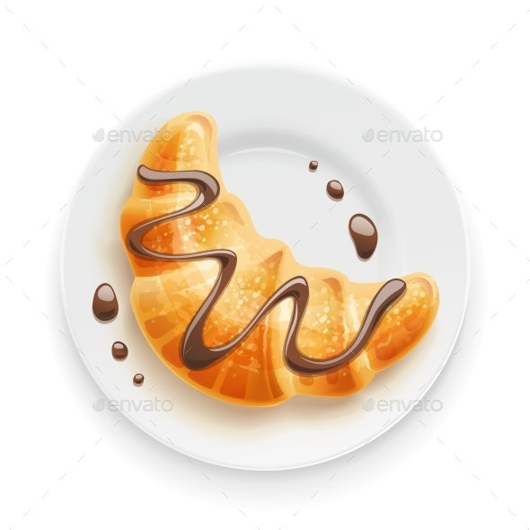 Croissant with Chocolate on Plate - Food Objects
