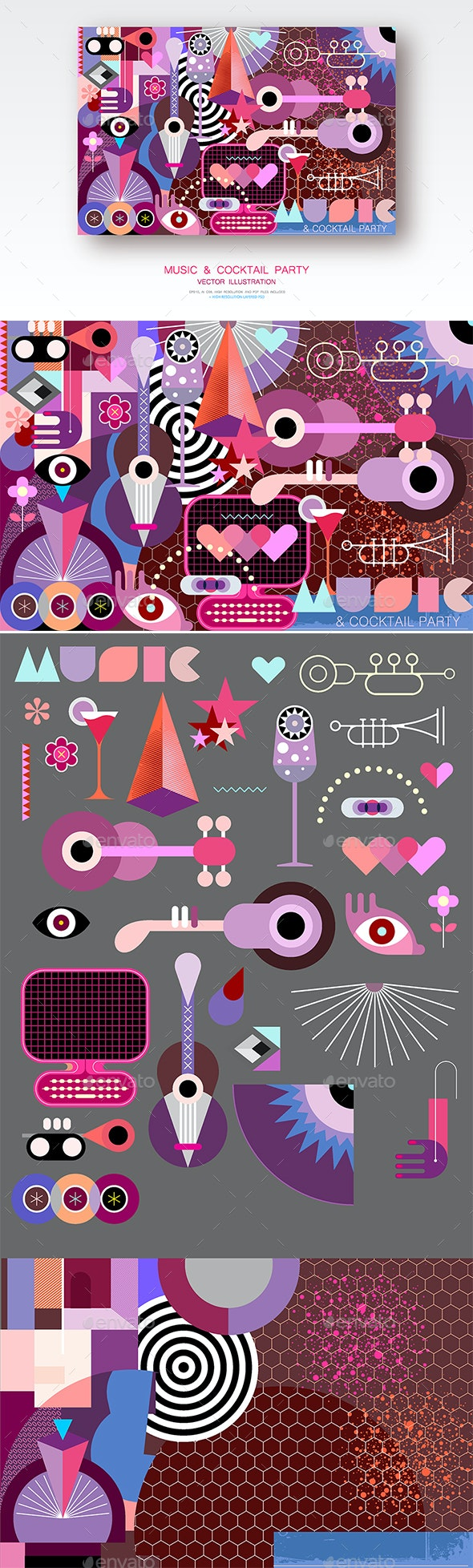 Music and Cocktail Party Vector Illustration - Backgrounds Decorative