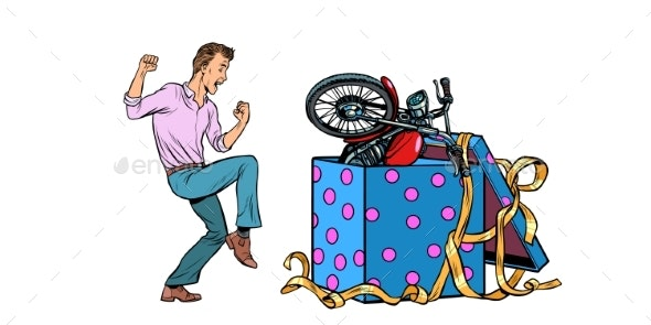 Man and Motorcycle Holiday Gift Box Isolated - Miscellaneous Vectors