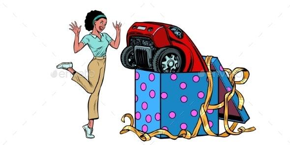 Car Holiday Gift Box Woman Joyful Reaction - Man-made Objects Objects