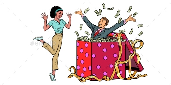 Businessman Husband Lots of Money Holiday Gift Box - People Characters