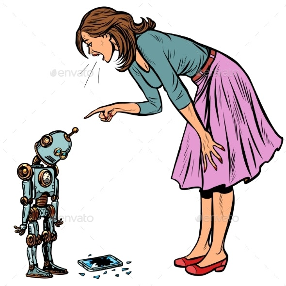 Robot Broke the Phone Woman Scolds Guilty - People Characters