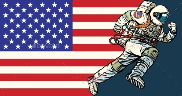 American Astronaut Patriot Runs Forward USA Flag - Miscellaneous Vectors
