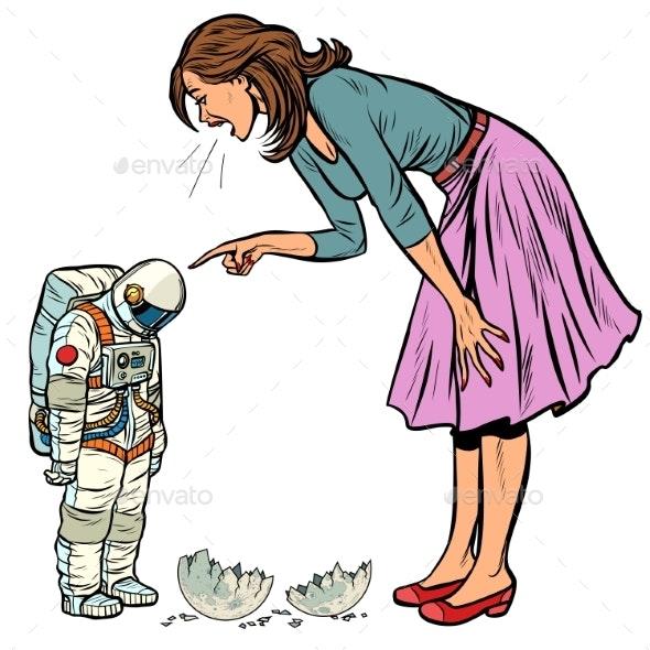 Woman Scolds Astronaut Guilty Destroyed Moon - Miscellaneous Conceptual