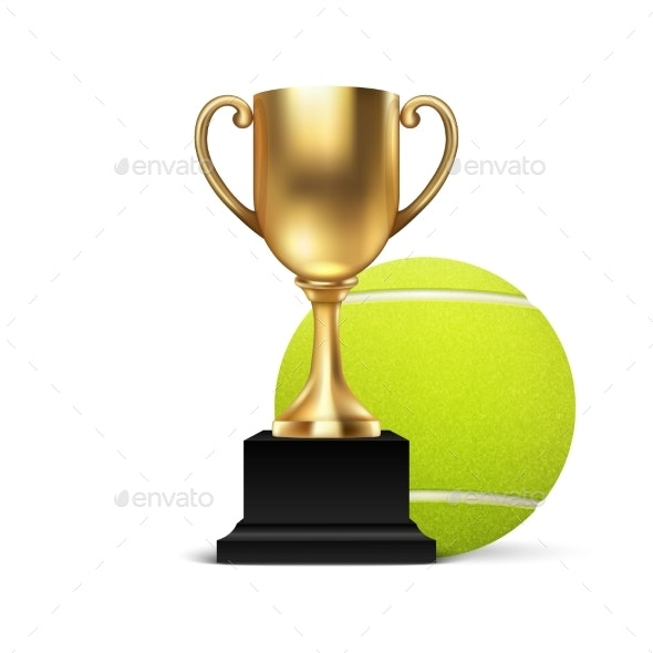Realistic Vector Blank Golden Champion Cup Icon - Sports/Activity Conceptual