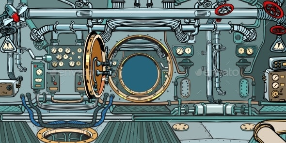 Compartment of the Spacecraft or Submarine - Backgrounds Decorative