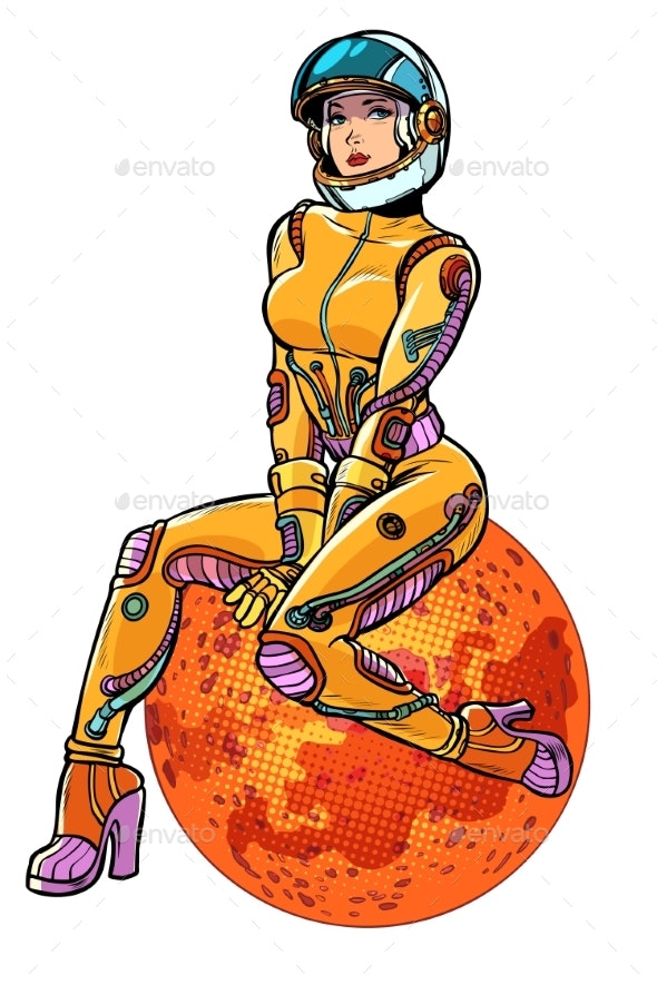 Woman Astronaut on Mars - People Characters